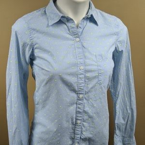 Gap Pinstripe/Polkadot Button Down Sz XS